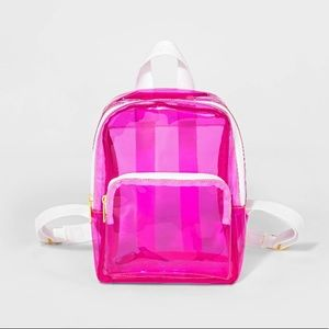 Neon pink clear mini backpack!